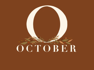 October florals didot typogaphy procreate procreateapp gouache autumn fall october calendar illustration