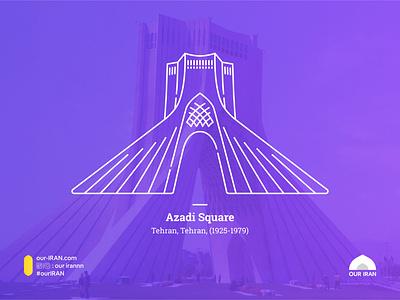 Azadi Square iran vector minimal flat illustration design
