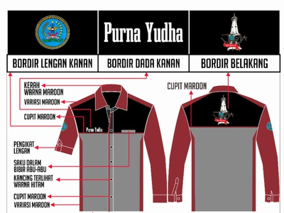 Desain Kemeja Purna Yudha product design vector corel draw