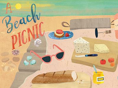 A Beach Picnic cookbook illustration cookbook beach illustration handlettering summer food illustration picnic food nautical beach they draw and cook
