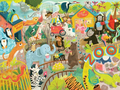 At the Zoo – Personalized jigsaw puzzle for Bookblock illustration whimsical kids books kidlitart childrens books childrens illustration childrens book illustration