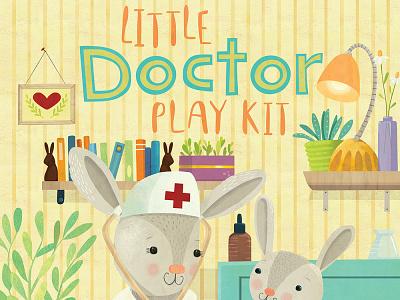 Little Doctor packaging for Lovely Mo Wooden Toys bunny rabbits illustration whimsical kidlitart kids books childrens books childrens illustration childrens book illustration