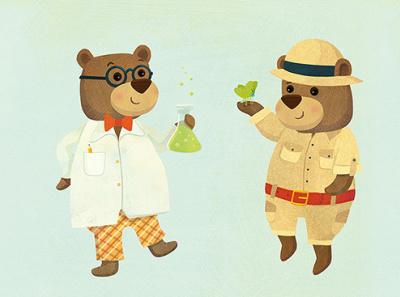 Bear Scientists for Lovely Mo Wooden Toys education illustration whimsical kidlitart kids books childrens books childrens illustration childrens book illustration