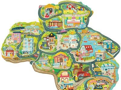 Dream City –Enormous fantasy city illustration for 5-puzzle set illustratedmap maps illustration whimsical kidlitart kids books childrens books childrens illustration childrens book illustration