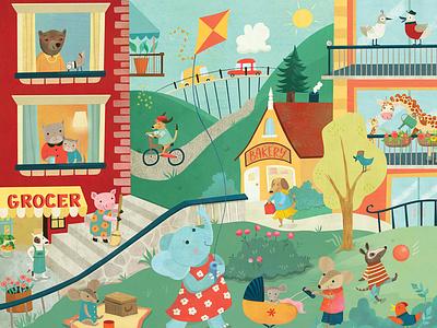 Life in the City jigsaw puzzle illustration whimsical kidlitart kids books childrens books childrens illustration childrens book illustration