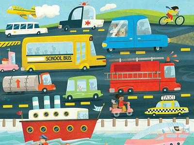 Let's Hit the Road! Jigsaw puzzle illustration whimsical kidlitart kids books childrens books childrens illustration childrens book illustration