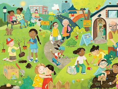 Philanthro-Peas jigsaw puzzle multicultural volunteerism ecofriendly kindness diversity illustration whimsical kidlitart kids books childrens books childrens illustration childrens book illustration