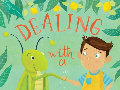 Dealing with a Cricket - kids' book illustrations :) cover design book cover hand lettering handlettering illustration whimsical kidlitart kids books childrens books childrens illustration childrens book illustration