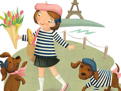 Emilie et les deux chiens in Paris tween fashion tweens dogs kids books girly feminine illustration branding illustration childrens fashion fashion illustration fashion paris