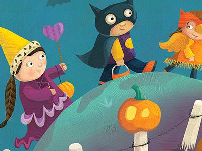 Trick or Treat kidlitart kid lit whimsical night scene childrensillustration halloween2016 halloween