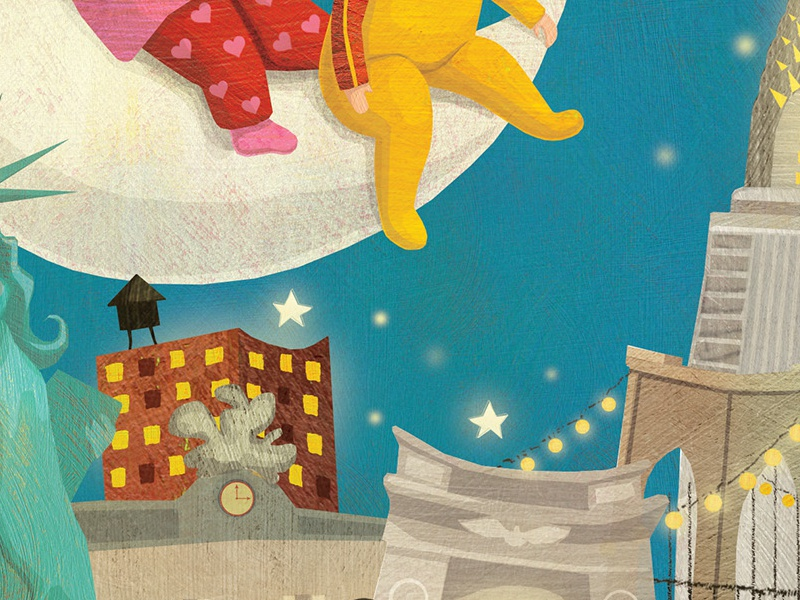 Goodnight New York whimsical stylized babies kids illustration childrens book illustration childrens book toddler illustration nighttime art nighttime illustration city illustration new york city new york
