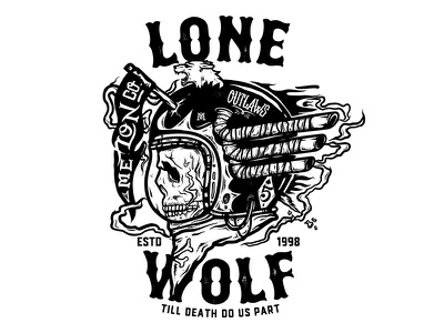 Lone Wolf badge vintage helmet illustration typography skull apparel t-shirt melonclothes death tee vector