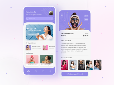 Beauty Salon App Concept beauty product fashion treatments spa skincare cosmetics mackup girls salon app beauty app beauty salon trends trending ui 2021 design minimal ui mobile app design app design uxdesign uidesign uiux