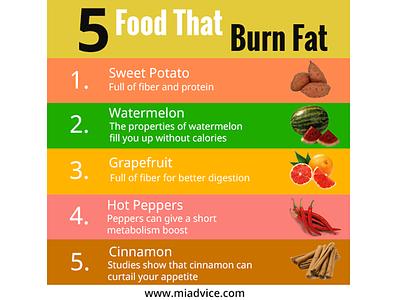 5 food that burn fat photoshop design branding post