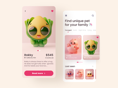 Pet shop app ui concept app uiux app ui ux ui app appdesign shop ui cards design cards ui cute illustration cute animal mobile ui app design ui  ux shopping app