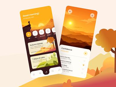 Meditation app ui meditation app yellow meditation landscape cards ui vector mobile ui app ui ui ux app