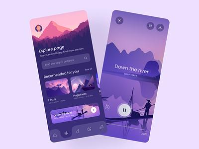 Meditation app cards design mobile ui menu ui search bar player ui cards ui landscape purple dark theme meditation app appdesign ux ui app