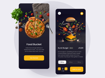 Food delivery app ui app uiux burger pizza fastfood dark theme food app ui appdesign ui ux app