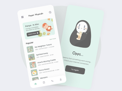 Anime Cartoon app mobile ui cards design app design cards ui totoro hayaomiyazaki main page empty page opps soft ui pastel color design uiux ui app watch cartoon