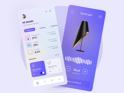 Smart Home smart home light temperature bedroom lamp smartphone gradient purple colorful cards design mobile ui ui ux app design smartdevice smarthome