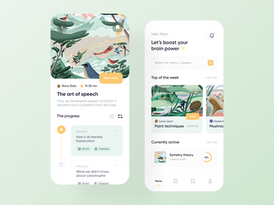 Course learning app ui ux design app design mobile ui search bar yellow green ux illustration education learning course menu art nature appdesign cards design app ui