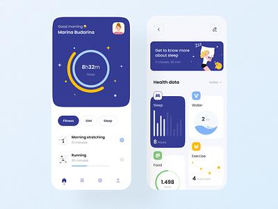 Health tracking app sleep tracking health tracking app design tracking app yellow diet sport sleep blue appdesign mobile ui cards design ux app ui health