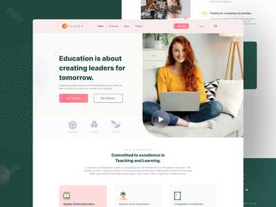 E Learning Landing Page trendy learn colorful eduaction e-learning appdesign uidesign ui design minimal study learner online education course elearning landingpage website web design webdesig web
