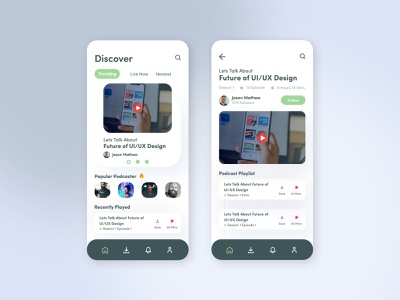 Podcast App Design uxdesign uidesign podcast ios app userinterface appdesign ux ui design video artist music live music radio online app show stream streaming app podcasting
