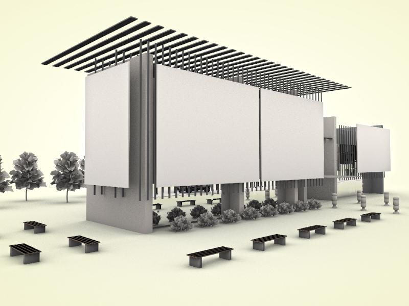 Conference building cinema4d 3d building