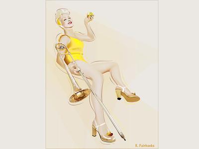Cyndi Lauper with Trombone By Kfairbanks cyndi lauper trombone woman illustrator vector