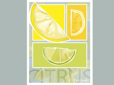 Citrus By K. Fairbanks graphic design still life oranges lemon lime illustration illustrator food fruit art vector