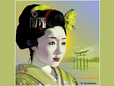 Geisha in Green By K. Fairbanks digital drawing digital art japan portrait woman illustrator vector geisha