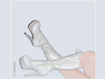 Boots By K. Fairbanks digital illustration digital art fashion boots illustration drawing art vector