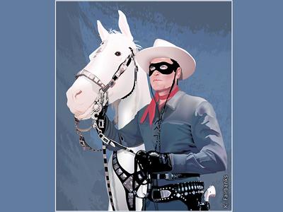 The Lone Ranger by K. Fairbanks lone ranger digital art the lone ranger illustration art vector cowboy horse silver