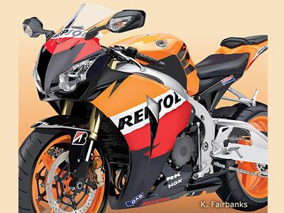 Motorcycle By K. Fairbanks digital art digital drawing illustrator vector art drawing motorcycle