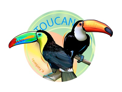 Toucans By K. Fairbanks graphic design digital art digital drawing illustrator vector toucans toucan birds bird