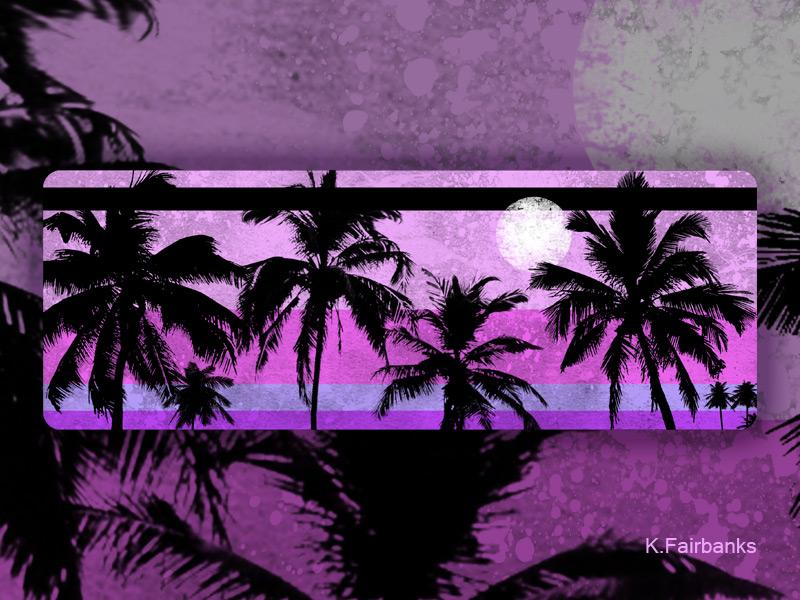 Palm Motif Purple by K. Fairbanks night moon beach trees tropical palm trees palm