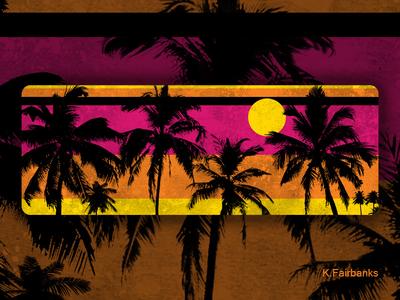 Palm Motif Orange by K. Fairbanks sun beach trees tropical palm trees palm