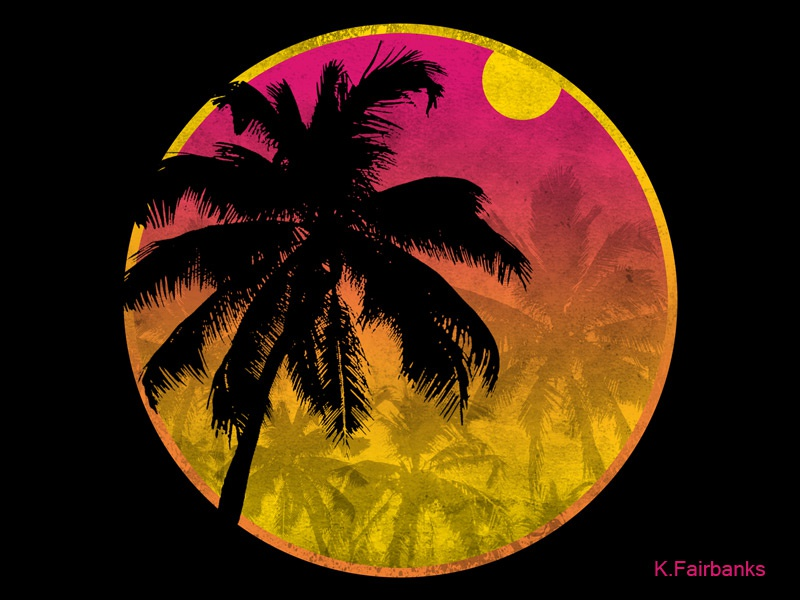 Palm Motif Round by K. Fairbanks sun beach trees tropical palm trees palm