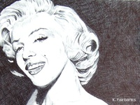 Marilyn Millionaire (close up) by K. Fairbanks ball point pen drawing drawing marilyn monroe