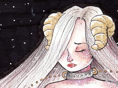 Estelle, the demon princess mix watercolor illustration demon