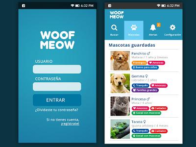 Woof Meow adoption pets app