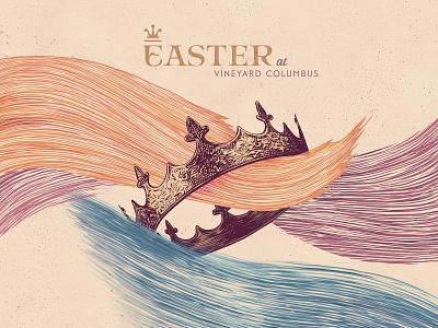Easter at Vineyard Columbus series brand king procreate inking brushstrokes waves crown easter sunday church series easter church