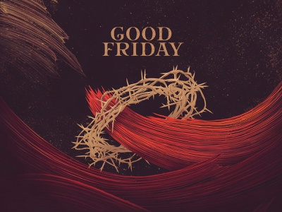 Good Friday inking dark reds blood red brushstrokes waves crown of thorns crown series brand church church series good friday easter