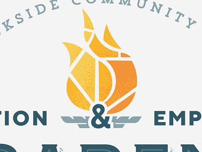 Logo flame academic academy pieces broken flaming fire