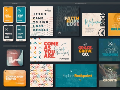 Rockpoint Church Brand Aesthetic church branding screen print signage nametags waves system visual identity visual language branding brand identity
