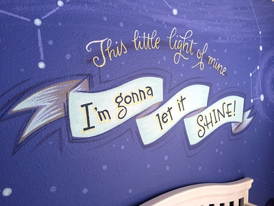 This Little Light of Mine nursery constellations putabanneronit banner mural lettering