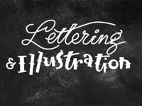 Lettering and Illustration on Chalkboard