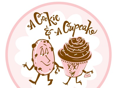 A Cookie & A Cupcake logo branding illustration logo design vector hand drawn type lettering