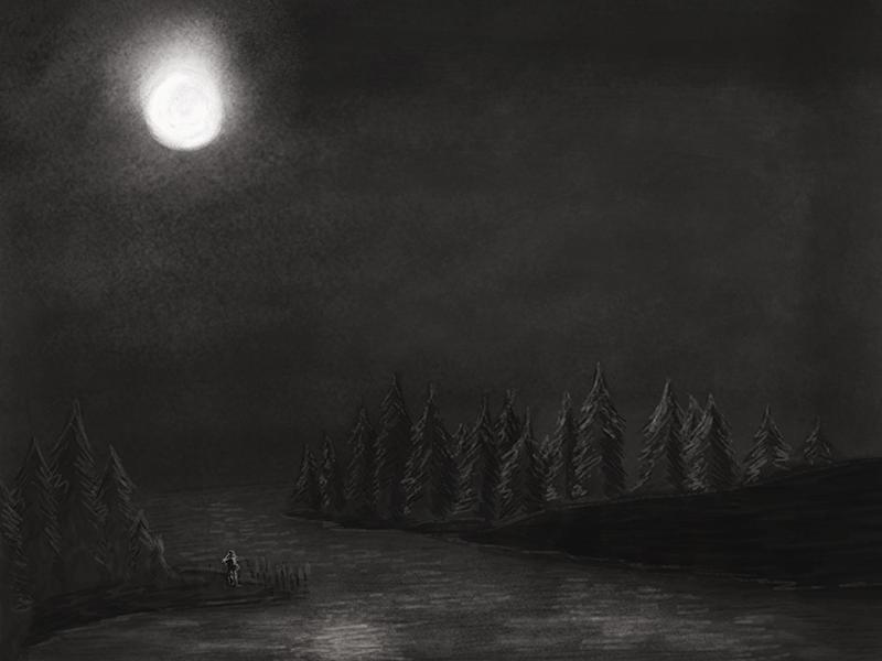 Natt night digital illustration drawing